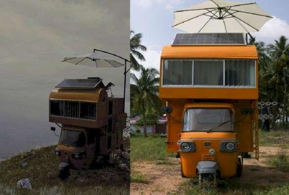 Modern House in Auto  Invention of Namakkal Arunprabhu - ஆட்டோவில் வீடு செய்து அசத்தும் நாமக்கல் இளைஞர்