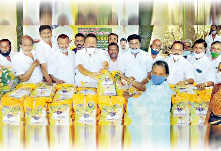 Relief items for the public at 11 locations  Presented by Minister Dindigul Srinivasan